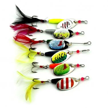 6PCS Fishing Lure Spinners Spinnerbait Kit Metal Spinner Baits Kit with Rooster Tail Treble Hook Bass Trout Fishing Lure