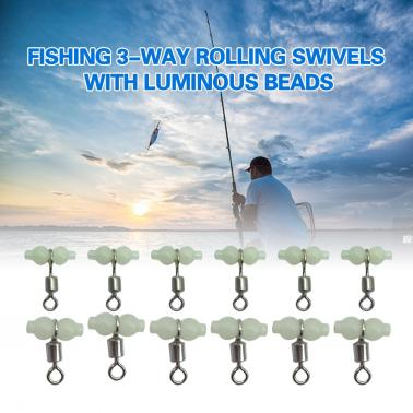 12Pcs Fishing 3 Way Rolling Swivel T-shape Cross-line Connector with Luminous Beads Sea Fishing Accessories Tackle