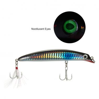10.5cm 13g Minnow Lures Artificial Hard Fishing Diver Lure Bait with Noctiluscent Eyes Treble Hooks