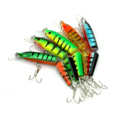 5PCS 10.5cm/9.6g Bisection Plastic Artificial Fishing Tools Jointed Fishing Lure Jerk Fish Tackle High Imitation Swim Ba