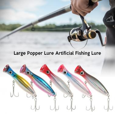 12cm / 45g Large Popper Lure Artificial Seal Lure 3D Eyes Hard Popper Fishing Lure with Hooks and Ring for Saltwater Fre