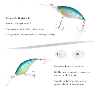 11cm / 18g Crank Bait Set Fishing Lure Swim Bait Artificial Bait Fishing Tackle Treble Feather Fishing Baits Hooks