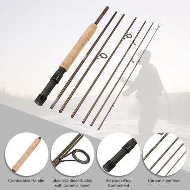 Fly Fishing Rod 7 Sections Detachable Portable Lightweight Carbon Fiber Fishing Pole 7.5ft/2.3m with Rod Case