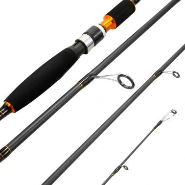 Fly Fishing Rod 4 Sections Detachable Portable Lightweight Carbon Fiber Fishing Pole 6.8ft/2.1m with Rod Bag