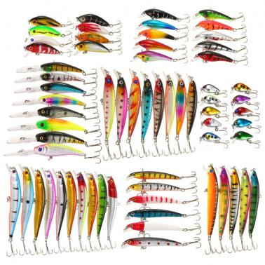 Pack of 65pcs Mixed Fishing Lure Set Kit Minnow Lures Crankbaits Artificial Hard Lure Bait Bass Carp Fishing Tackle