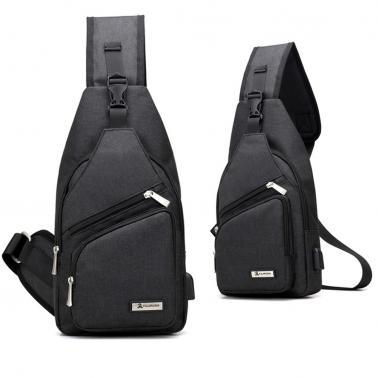 USB Charging Bag Sling Bag Pack Shoulder Chest Cross Body Backpack Daypack Bike Cycling Travel Hiking Sports Bag