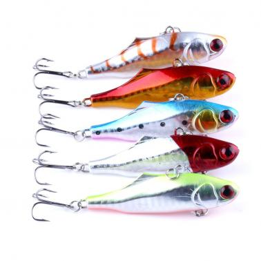 5PCS 9cm / 23g VIB Fishing Lures 3D Eyes Treble Hook Artificial Hard Baits High Imitation Swim Bait
