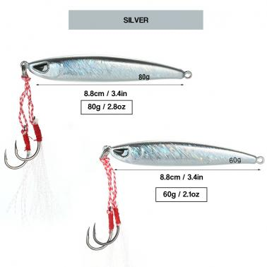 8.8cm / 80g Fishing Lure Artificial Baits 3D Eyes Double Hook Hard Baits Reflective Metal Body with Ring