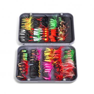 Fly Fishing Flies Kit 20/100pcs Assorted Fly Fishing Lures Hooks with Fly Box
