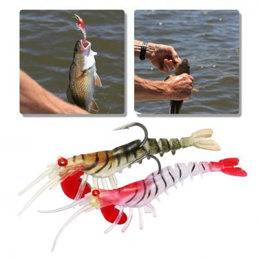 5cm / 7g Fishing Shrimp Fishing Lures Artificial Soft Lures Fishing Shrimp Craw Prawn Lures with Heavy Head and Single H