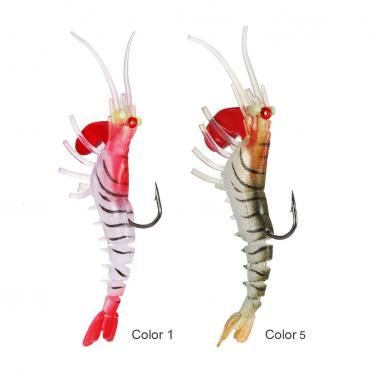 7cm / 18g Fishing Shrimp Fishing Lures Artificial Soft Lures Fishing Shrimp Craw Prawn Lures with Heavy Head and Single