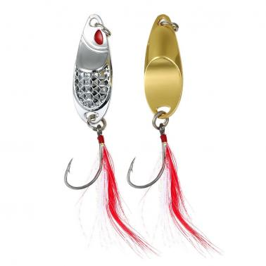 2PCS Fishing Metal Lures Artificial Lures Aluminium Alloy Fish Sequins Bait with Feather Single Hook