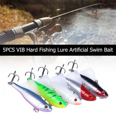 5PCS 9cm / 17.2g VIB Hard Fishing Lure Artificial Swim Bait with Treble Hook 3D Eyes Fishing Bait