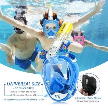 TOMSHOO 180° Panoramic Full Face Snorkel Mask