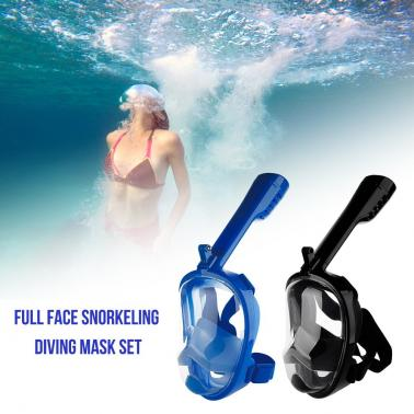 Full Face Snorkeling Mask Scuba Diving Snorkel Mask Set 180 Degree View For Camera Swimming Equipment
