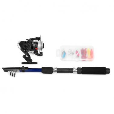 Spinning Fishing Reel Rod Combo Kit Telescopic Fishing Pole with Soft Fishing Lures Jig Hooks Hard Baits