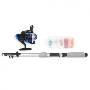 Spinning Fishing Reel Rod Combo Kit Telescopic Fishing Pole with Soft Fishing Lures Jig Hooks Hard Baits