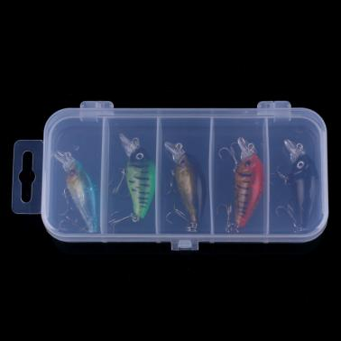 HENG JIA 5pcs Mini Simulated Colourful Fishing Lure Set Floating Bait Hard Fish Hook Fishing Tackle Box Tools of Angling