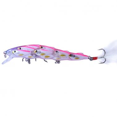 HENG JIA 5pcs Simulated Fishing Lure Many Fish School Combinational Bait Hard Feather Fish Hook Tools of Angling