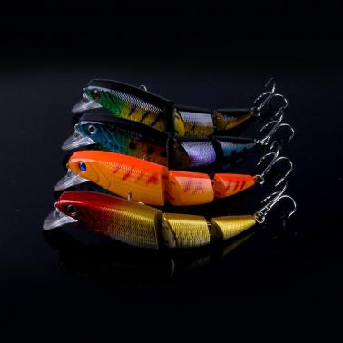 HENG JIA 8pcs Simulated Fishing Lures Colorful Three Sections of Fishing Baits Hard Fish Hook Tools of Angling