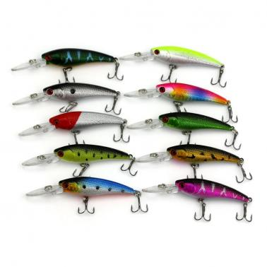 HENG JIA 10pcs Simulated Fishing Lures Long Tongue Colorful Baits Hard Fish Hook Tools of Angling