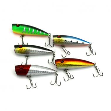 HENG JIA 5pcs Simulated Fishing Lures Colorful Flat Cut Surface Baits Hard Fish Hook Tools of Angling