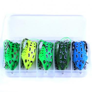 HENG JIA 5pcs Frog Fishing Lures Pocket Frogs Hard Double Hooks Soft Plastic Baits Tools of Angling
