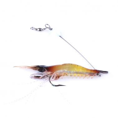 HENG JIA 3pcs Simulated Fluorescence Noctilucence Fishing Lures Multicolor Shrimp Soft Lure with Single Hook Tools of An