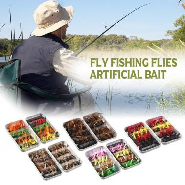 32pcs Fly Fishing Lure Set Artificial Bait with Hooks Carbon Steel Insect Fly Fishing Hooks