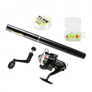 Pen Fishing Rod and Reel Combo Set Mini Telescopic Pocket Fishing Rod Spinning Reel Fishing Line Soft Lures Baits Jig Ho