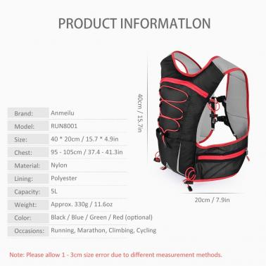 5L Multi Pocket Outdoor Reflective Running Vest Backpack Insulted Hydration Vest Pack Bag Marathon Jogging Hiking Cyclin