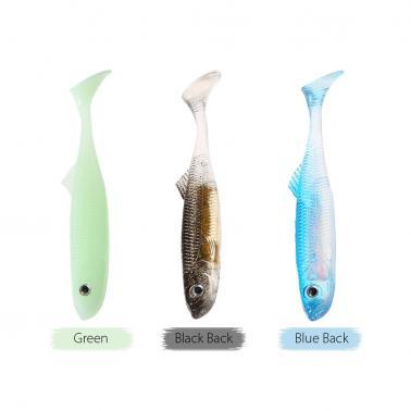 5PCS 9cm 7g Fishing Soft Lure T Tail 3D Eyes Lifelike Soft Plastic Swimbait Fish Lure