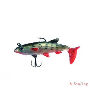 5Pcs 8.5cm 14g Soft Bait Lead Head Fish Lures Bass Fishing Tackle Sharp Hook T Tail Colourful