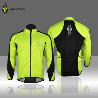 WOLFBIKE Fleece Thermal Cycling Long Sleeve Jersey Winter Outdoor Sports Jacket Windproof Wind Coat Bicycle Cycle Wear C