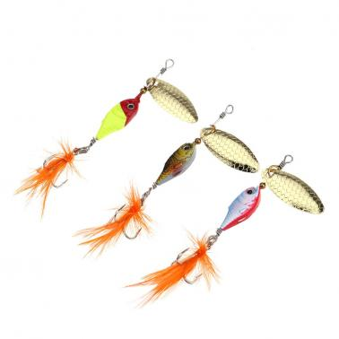 8cm 10g Colorful Fishing Lure Hard Bait Metal Spoon with Feather/Hook Fishing Tackle
