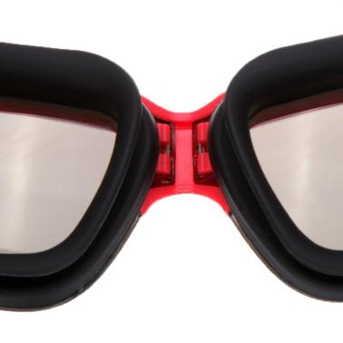 Anti-fog Mirror Coated UV Protection Swimming Goggles PC Lens Silicone Swim Glasses Red & Black