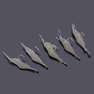 5Pcs Fishing Lure Soft Luminous Shrimp Fishing Tackle Soft Bait With One Single Hook