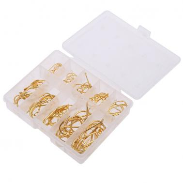 Golden 100PCS 10 Size Fishing Hooks Sharpened Fishing Needle With Box